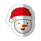 Sticker face cartoon snowman christmas design. Illustration Royalty Free Stock Photography