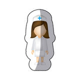 sticker with faceless female nurse Stock Photo