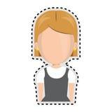 Sticker faceless half body cartoon blond girl with short hair Royalty Free Stock Photo