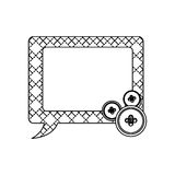 Sticker figures square chat bubbles icon. Illustraction design Royalty Free Stock Photos