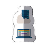 Sticker with file cabinet into the cloud connect to tech laptop. Vector illustration Stock Photography