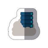 Sticker with file cabinet into the cloud Royalty Free Stock Photos