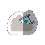 Sticker filmstrip with play buttom into the cloud. Vector illustration Royalty Free Stock Photography