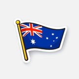 Sticker flag of Australia on flagstaff Stock Photography