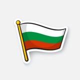 Sticker flag of Bulgaria on flagstaff Royalty Free Stock Image