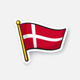 Sticker flag of Denmark on flagstaff royalty free illustration