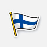 Sticker flag of Finland on flagstaff Stock Images