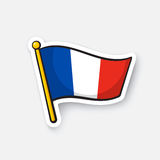 Sticker flag of France on flagstaff royalty free illustration