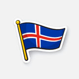 Sticker flag of Iceland on flagstaff Royalty Free Stock Photos