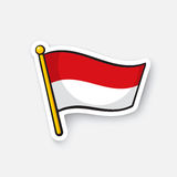 Sticker flag of Indonesia on flagstaff Stock Images