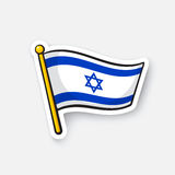 Sticker flag of Israel on flagstaff Royalty Free Stock Image