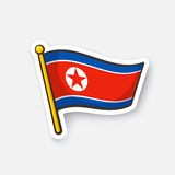 Sticker flag of North Korea on flagstaff Royalty Free Stock Photos