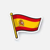 Sticker flag of Spain on flagstaff Royalty Free Stock Photo