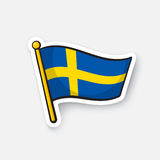 Sticker flag of Sweden on flagstaff Royalty Free Stock Photo