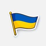 Sticker flag of Ukraine on flagstaff stock illustration