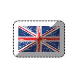 Sticker flag united kingdom with grunge texture Royalty Free Stock Photos