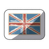 Sticker flag united kingdom with opaque grunge texture Stock Images