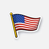 Sticker flag of the United States on flagstaff. Vector illustration. Flag of the United States on flagstaff. Checkpoint symbol for travelers. Cartoon sticker Royalty Free Stock Images