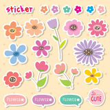 Sticker Flower Cartoon Cute Color Icon Vector. Design Stock Images