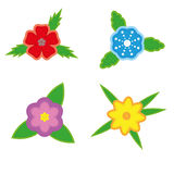 Sticker flowers on a white background. Sticker set of four flowers on a white background. Isolated objects Stock Image