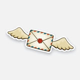 Sticker flying closed vintage envelope with wax seal and wings Royalty Free Stock Photography