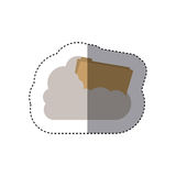 Sticker folder into the cumulus cloud. Vector illustration Royalty Free Stock Photo