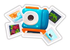 Sticker in form of modern camera, variety of travel photos. Colorful sticker, label, logotype, badge with icon, summer trip, travel, vacation, journey. Sticker stock illustration