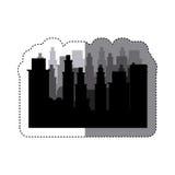 Sticker frame silhouette cityscape scene night time. Illustration Stock Photos