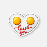 Sticker fried eggs in heart shape. Vector illustration. Fried eggs in heart shape. Scrambled egg. Healthy food. Cartoon sticker in comic style with contour Stock Photo