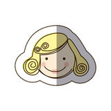 Sticker front view colorful silhouette cartoon woman face with blond hair Stock Image