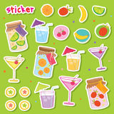Sticker Fruit Juice Drink Cocktail Fresh Cute cartoon Design Vector Stock Image