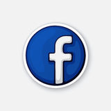 Sticker funny logotype of facebook. Vector illustration. Funny logotype of facebook. Social media logotype. Sticker in cartoon style with contour. Decoration for