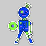 Sticker - gekleurde beeldverhaalrobot Stock Foto's