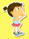 Sticker of a girl counting Royalty Free Stock Images