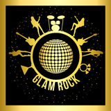 Sticker of glam rock. Black gold sticker  of glam rock Stock Images
