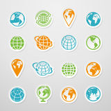 Sticker Globe Icons. Sticker globe earth world map symbol icons set vector illustration Stock Image