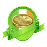 Sticker Gold Coin St Patrick's Day Royalty Free Stock Image