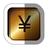 Sticker golden square with currency symbol of china Stock Photo