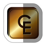 sticker golden square with currency symbol of european currency unit Stock Images