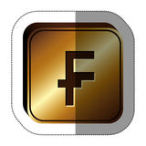 Sticker golden square with currency symbol of frank french and belgian Stock Images
