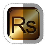 Sticker golden square with currency symbol of india rupee Stock Photos