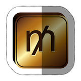 Sticker golden square with currency symbol of mill Royalty Free Stock Image