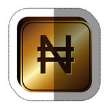 Sticker golden square with currency symbol of nigerian naira Stock Photo