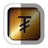 Sticker golden square with currency symbol of tugrik mongol Royalty Free Stock Photos