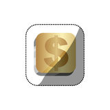 Sticker golden square 3d button with dollar symbol. Illustration Stock Photography
