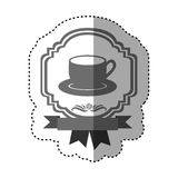 sticker gray scale border heraldic decorative ribbon with dish porcelain with cup Stock Photo