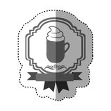Sticker gray scale border heraldic decorative ribbon with mug of cappuccino with cream. Illustration Royalty Free Stock Photo