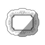 Sticker gray scale curved rectangle vintage baroque frame. Illustration Royalty Free Stock Photo