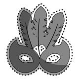Sticker gray silhouette mask carnival celebration icon design Stock Photography