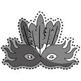 Sticker gray silhouette mask feather carnival festival circus fair celebration Stock Image